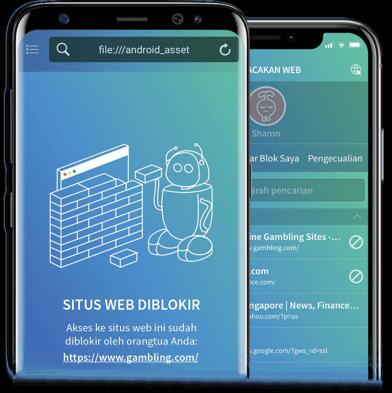 Fitur Melacak Situs Web dalam smartphone anak Tittle for Parents